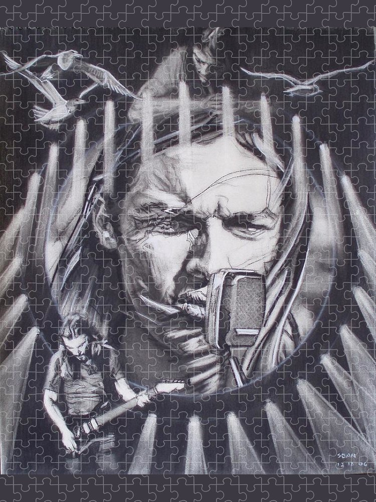 Charcoal On Paper Puzzle featuring the drawing David Gilmour Of Pink Floyd - Echoes by Sean Connolly