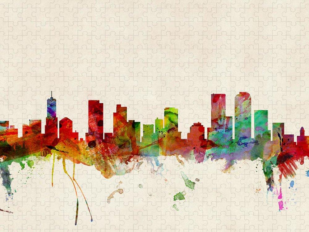 Watercolour Puzzle featuring the digital art Denver Colorado Skyline by Michael Tompsett