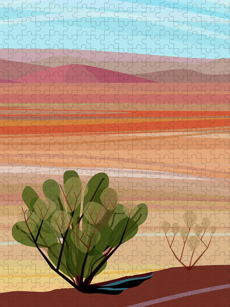 Saguaro Cactus Puzzle featuring the photograph Desert, Cactus Brush, Mountains In by Charles Harker