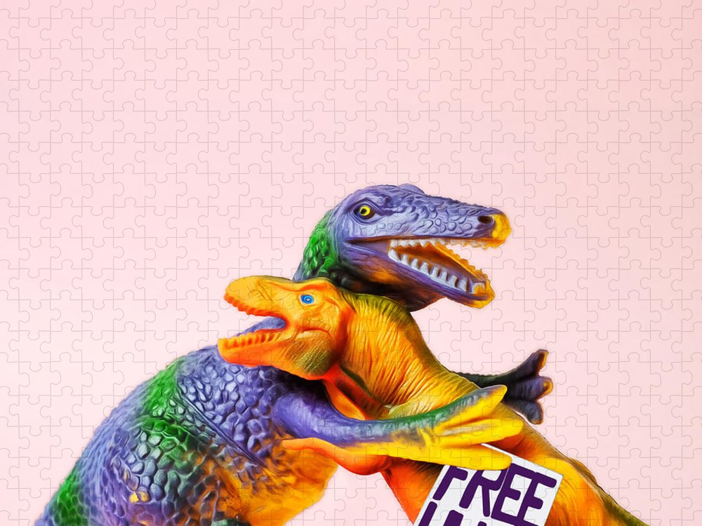 Fun Puzzle featuring the photograph Dinosaurs Hugging by Juj Winn