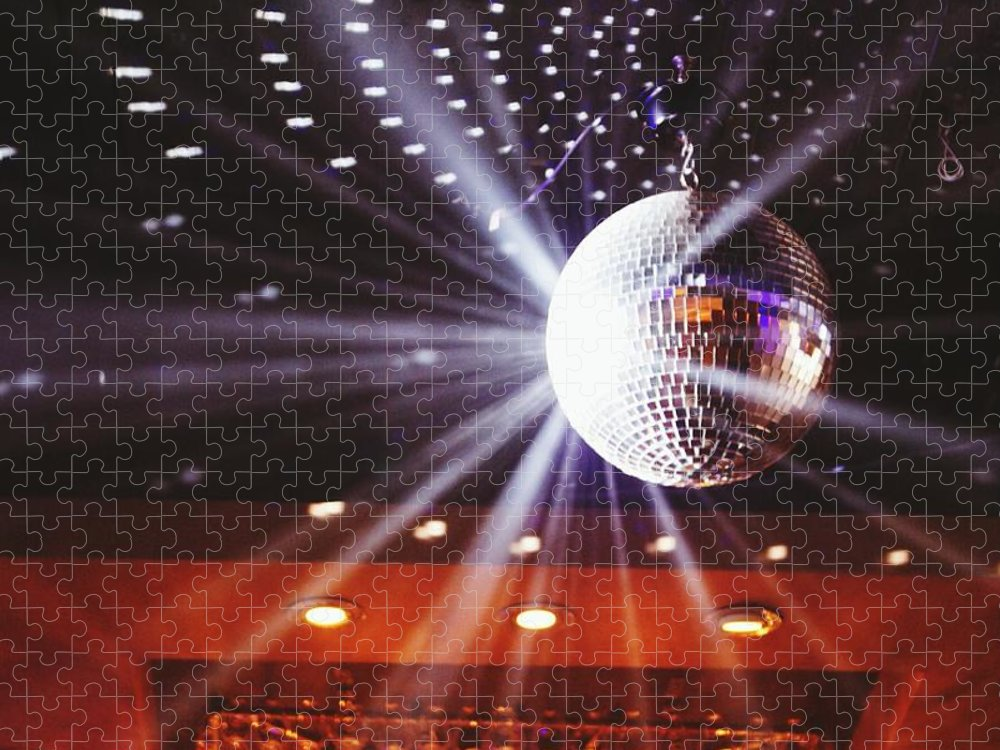 Hanging Puzzle featuring the photograph Disco Ball At Illuminated Nightclub by Shaun Wang / Eyeem