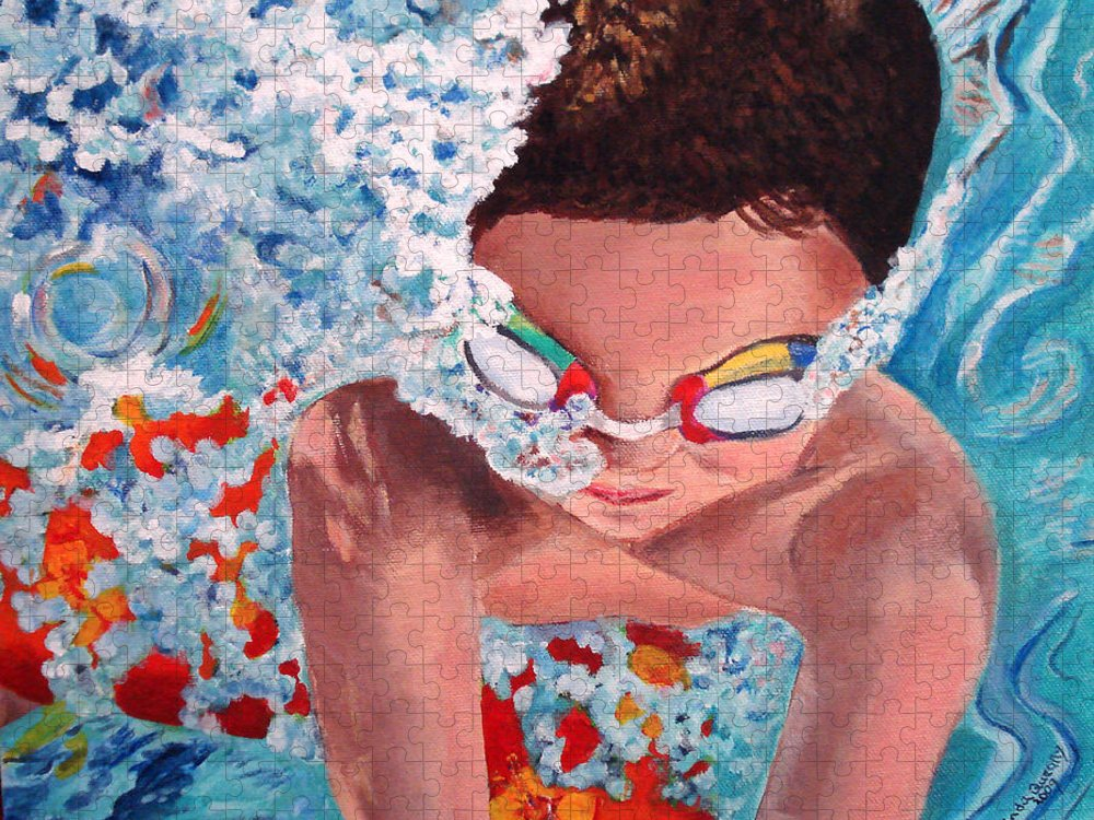 Swimming Puzzle featuring the painting Dive In by Linda Queally