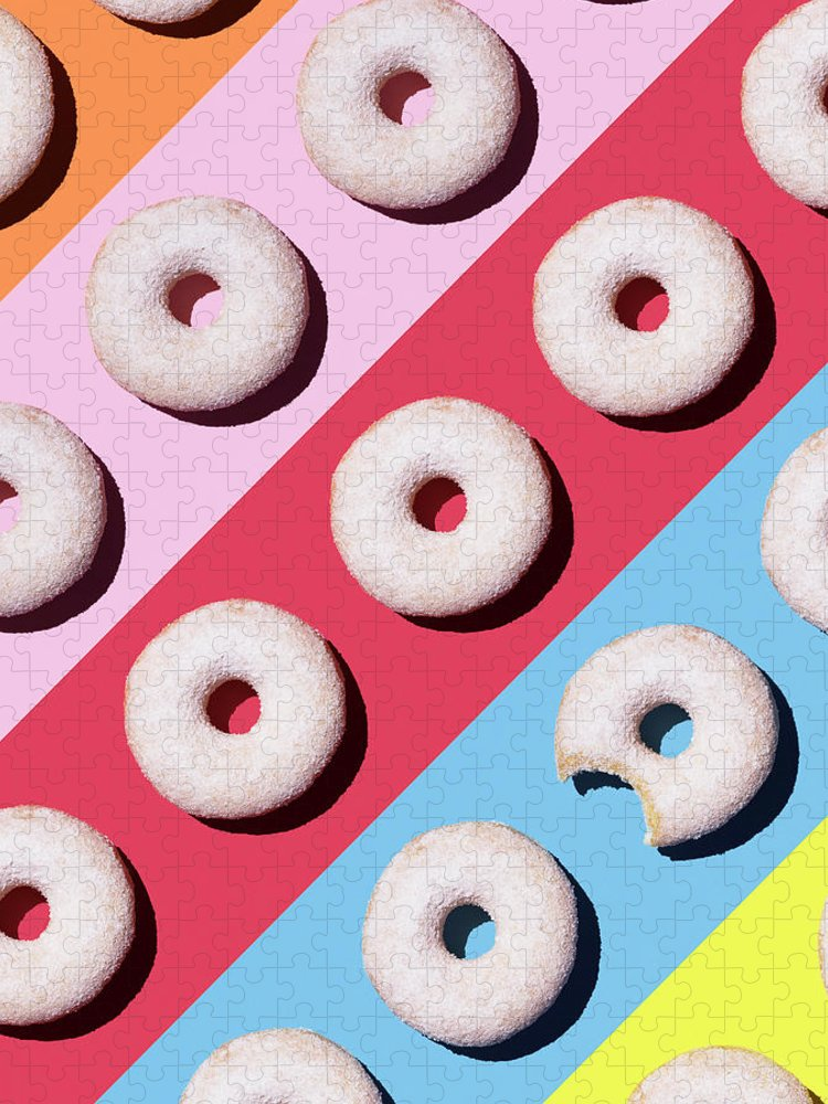 Shadow Puzzle featuring the digital art Doughnuts On Colourful Background by Westend61