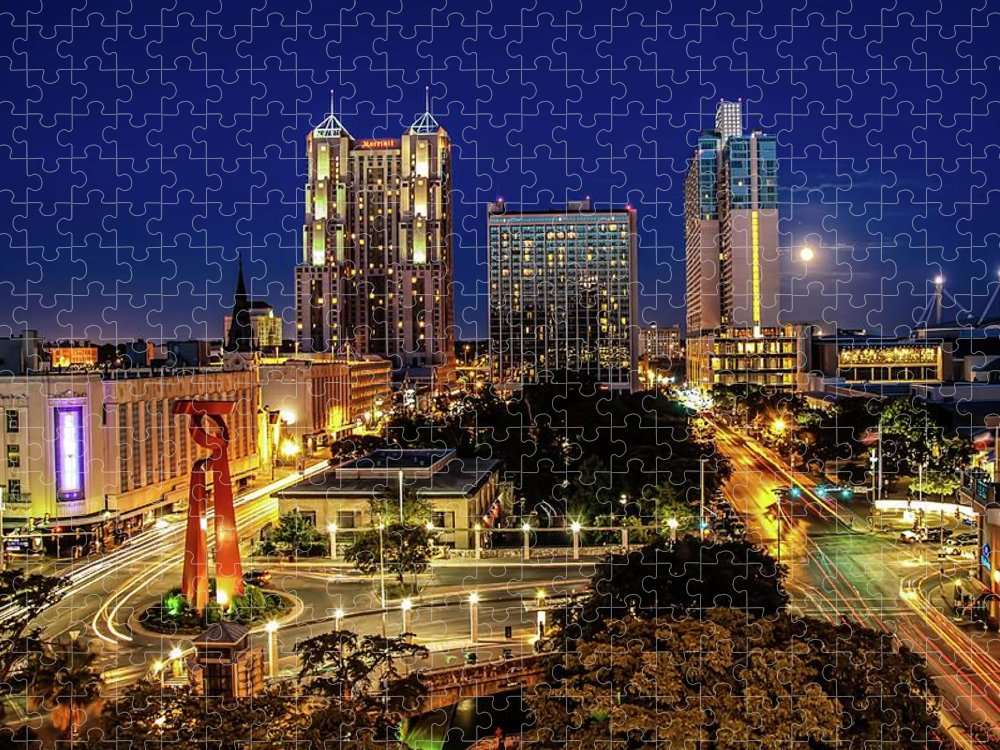 Downtown District Puzzle featuring the photograph Downtown San Antonio by John Cabuena Flipintex Fotod