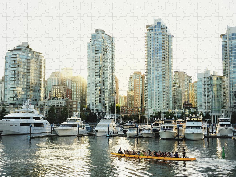 Tranquility Puzzle featuring the photograph Dragon Boating In Vancouver by Carlina Teteris