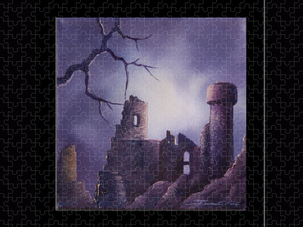 Gothic Puzzle featuring the painting Dramar Castle by James Christopher Hill