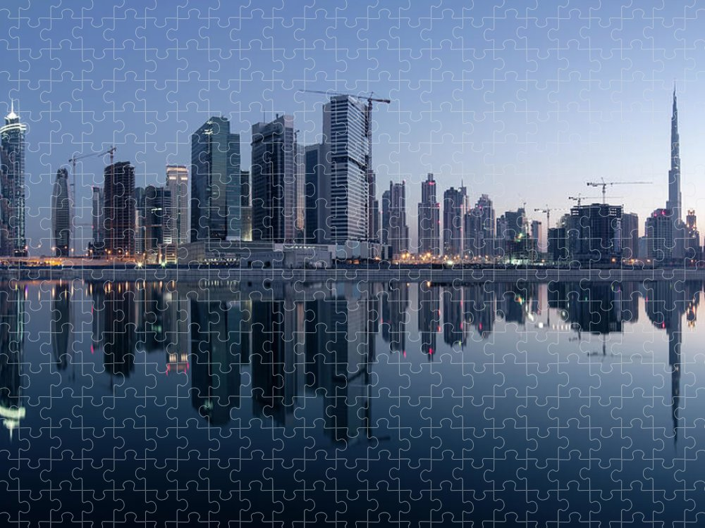 Tranquility Puzzle featuring the photograph Dubai Business Bay Skyline With by Spreephoto.de