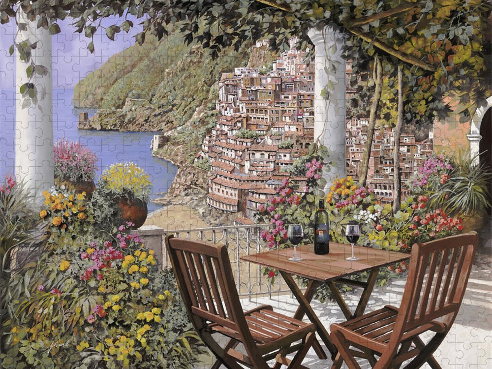 Positano Puzzle featuring the painting aperitivo a Positano by Guido Borelli