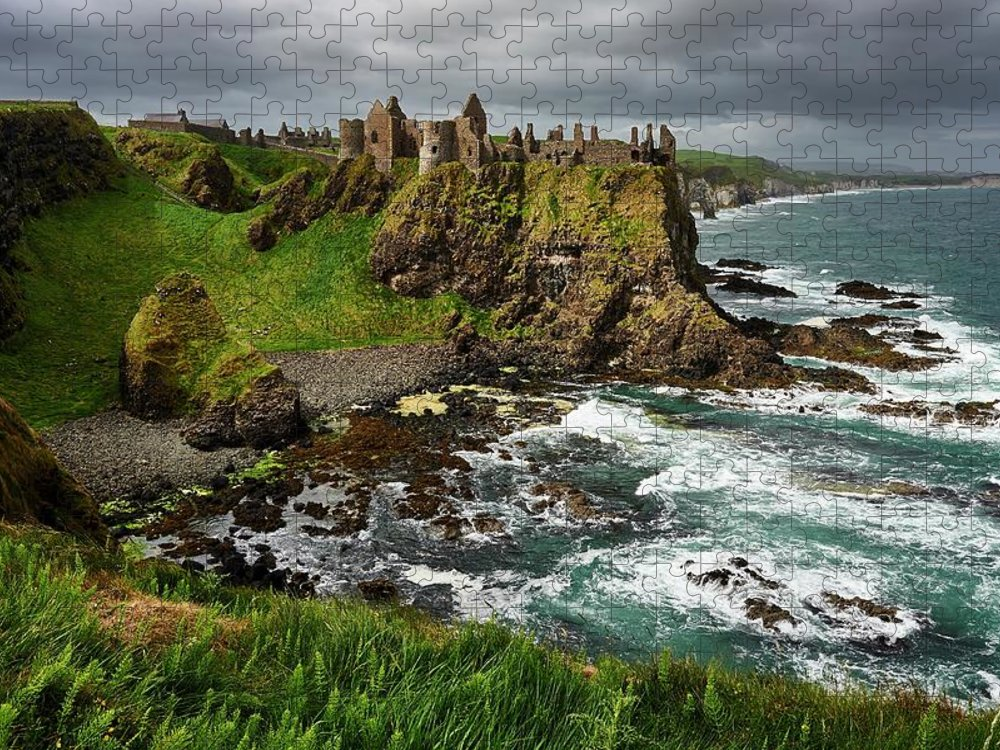 Tranquility Puzzle featuring the photograph Dunluce Castle, Northern Ireland by Andrea Pistolesi