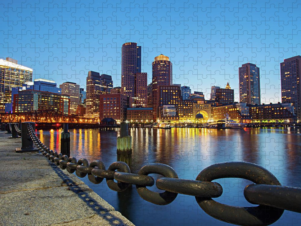 Clear Sky Puzzle featuring the photograph Dusk In Boston by Photography By Nick Burwell