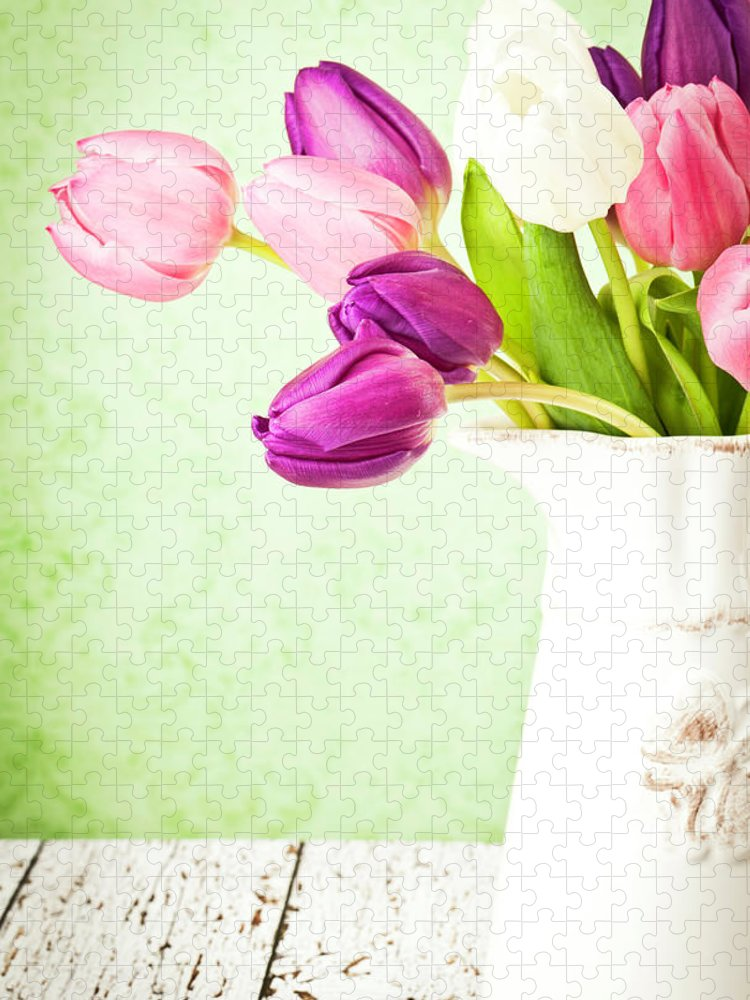 Mother's Day Puzzle featuring the photograph Easter Tulips And Copy Space by Catlane