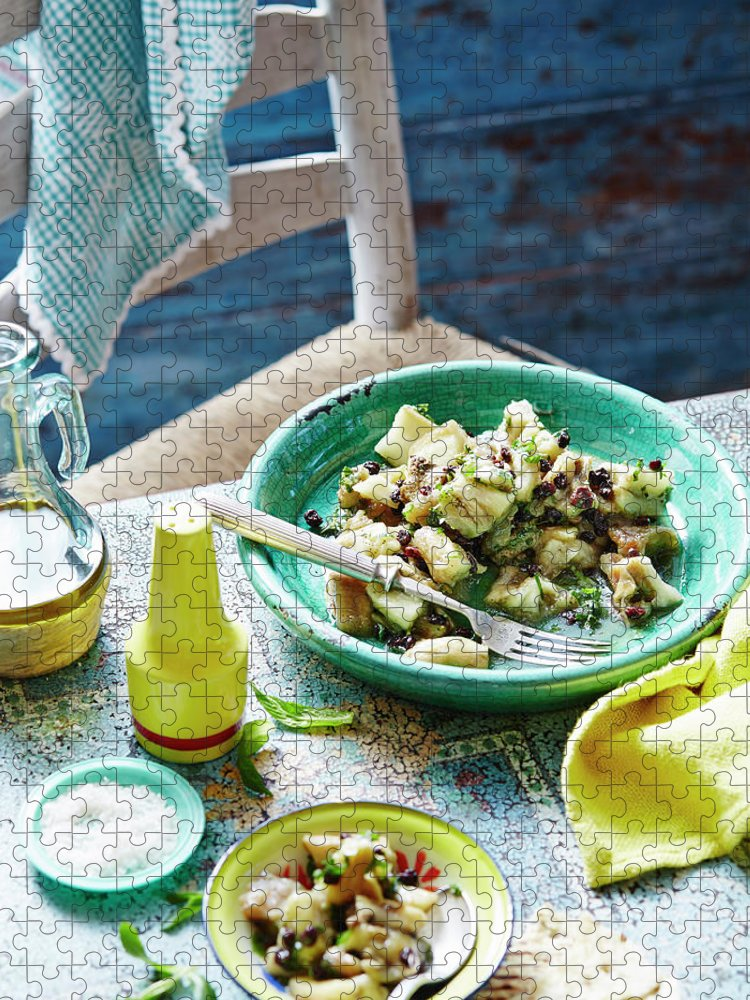 Temptation Puzzle featuring the photograph Eggplant, Mint And Sultana Salad by Brett Stevens