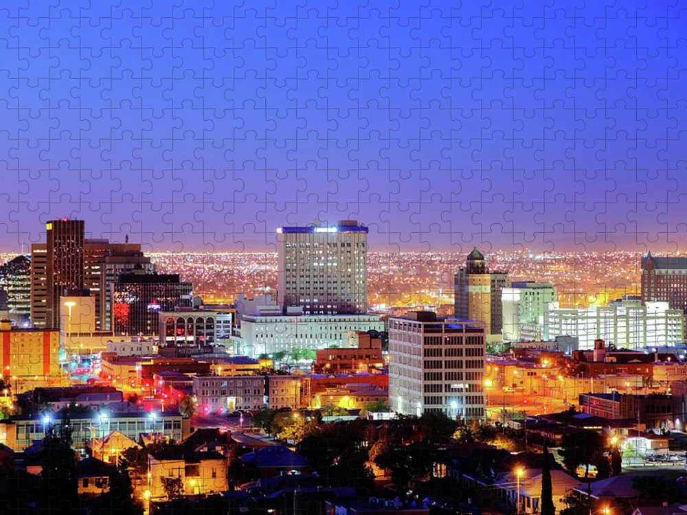 Downtown District Puzzle featuring the photograph El Paso by Denistangneyjr