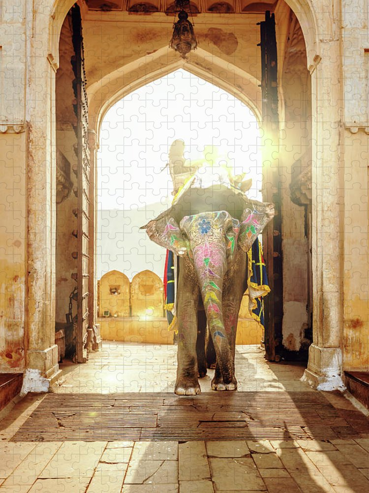 Working Animal Puzzle featuring the photograph Elephant At Amber Palace Jaipur,india by Mlenny
