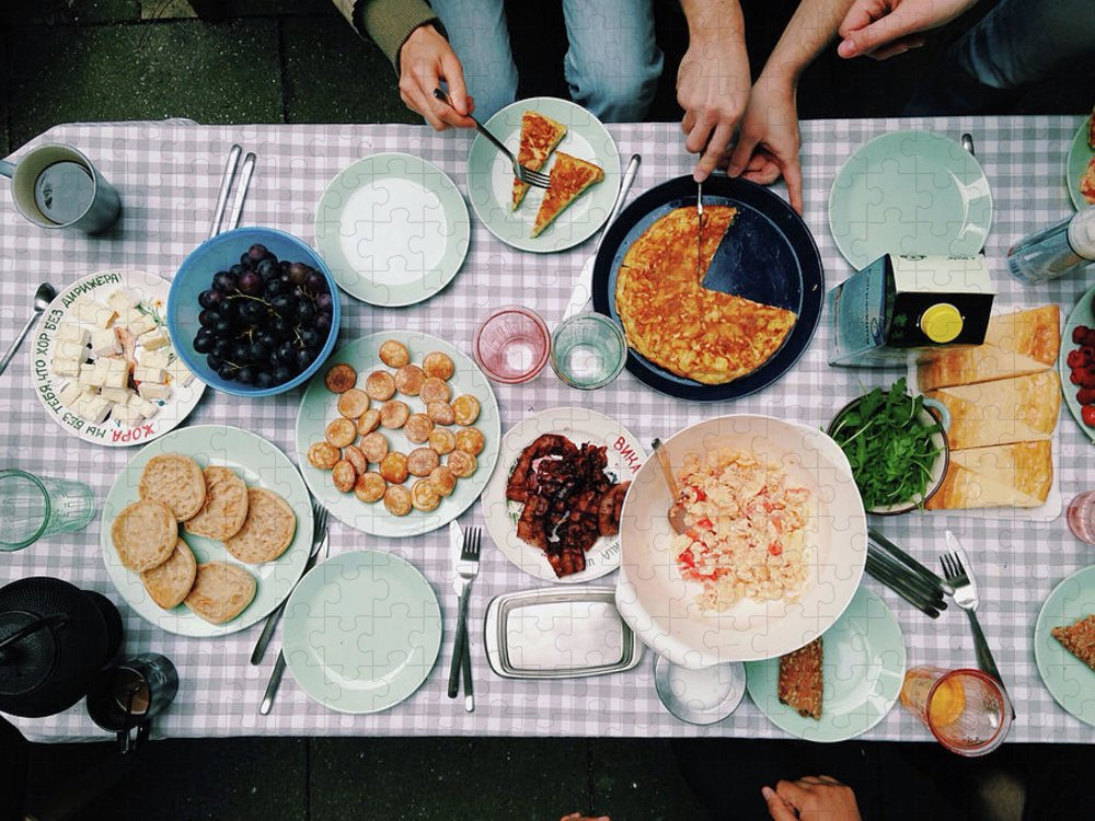 People Puzzle featuring the photograph Elevated View Of A Variety Of Meals by Kirsty Lee / Eyeem
