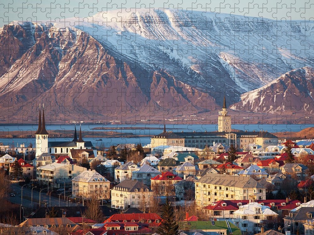 Snow Puzzle featuring the photograph Elevated View Over Reykjavik, Iceland by Travelpix Ltd