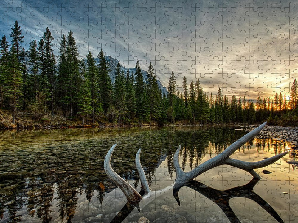 Scenics Puzzle featuring the photograph Elk Antler Adds Reflection To Mountain by Ascent Xmedia