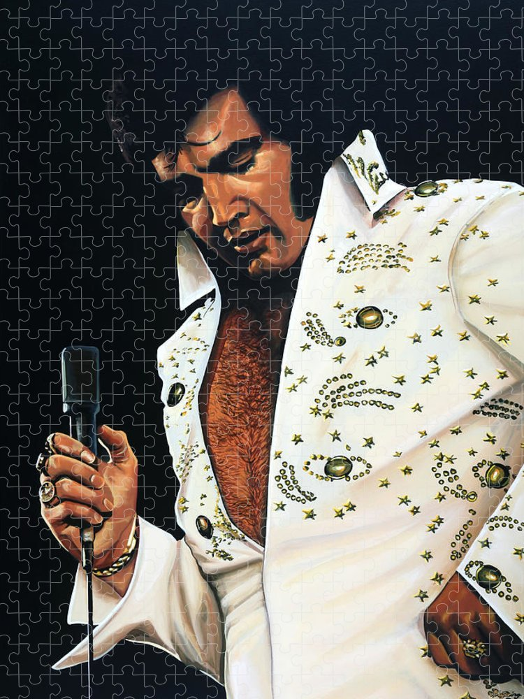 Elvis Puzzle featuring the painting Elvis Presley Painting by Paul Meijering