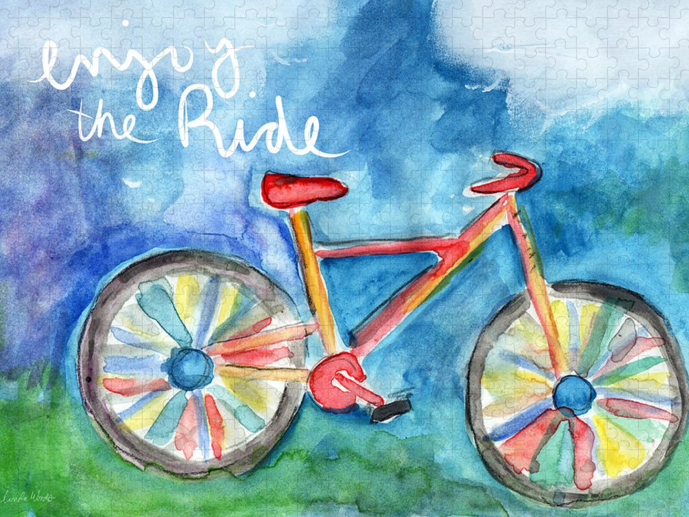 Bike Puzzle featuring the painting Enjoy The Ride- Colorful Bike Painting by Linda Woods