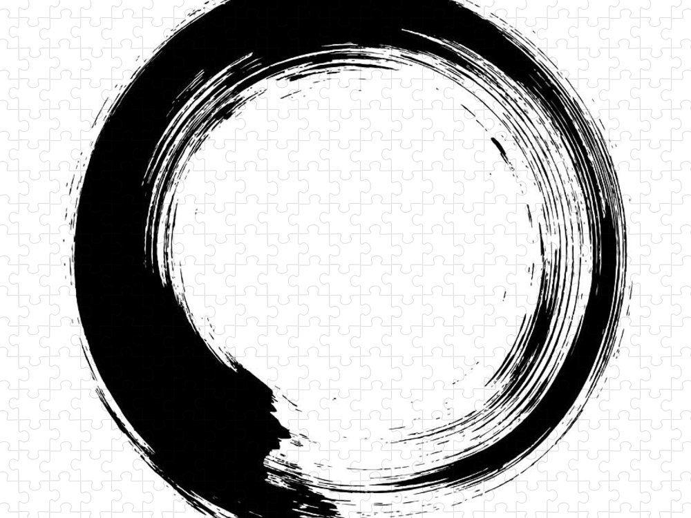 East Puzzle featuring the digital art Enso – Circular Brush Stroke Japanese by Thoth adan