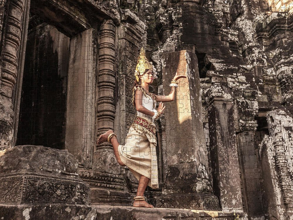 Hinduism Puzzle featuring the photograph Female Apsara Dancer, Standing On One by Cultura Exclusive/gary Latham