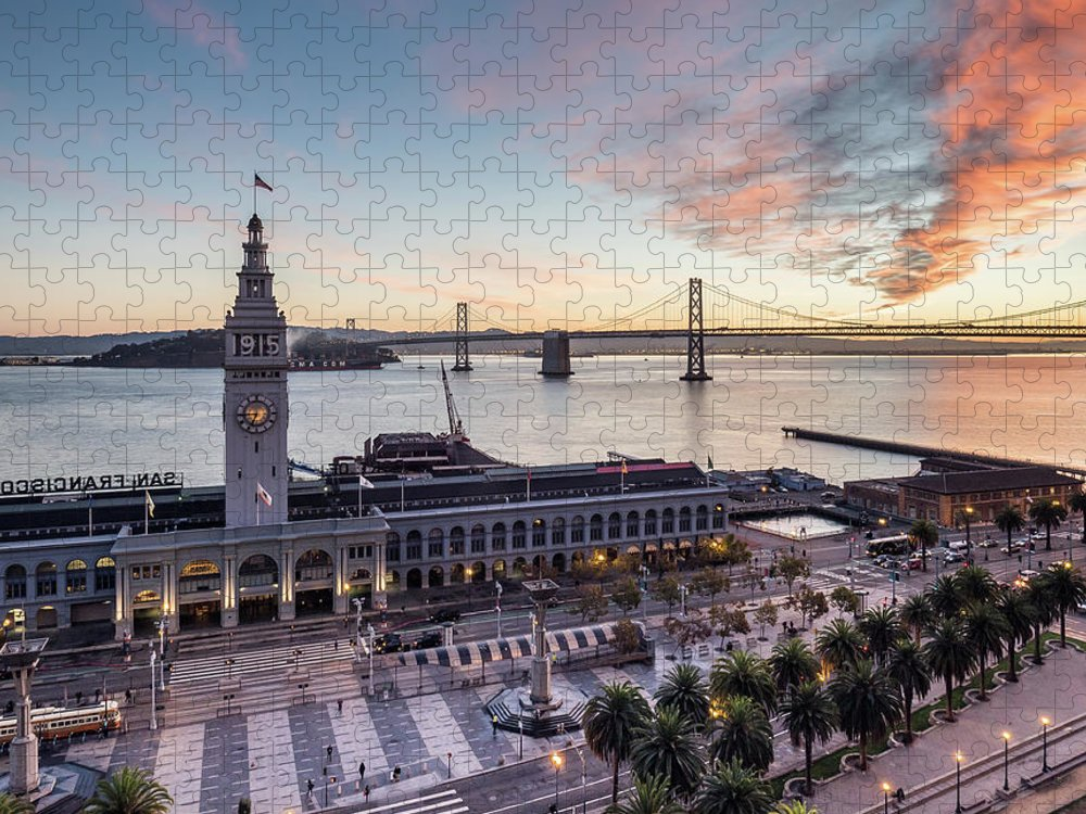 California Puzzle featuring the photograph Ferry Building Sunrise - San Francisco by Michael Lee