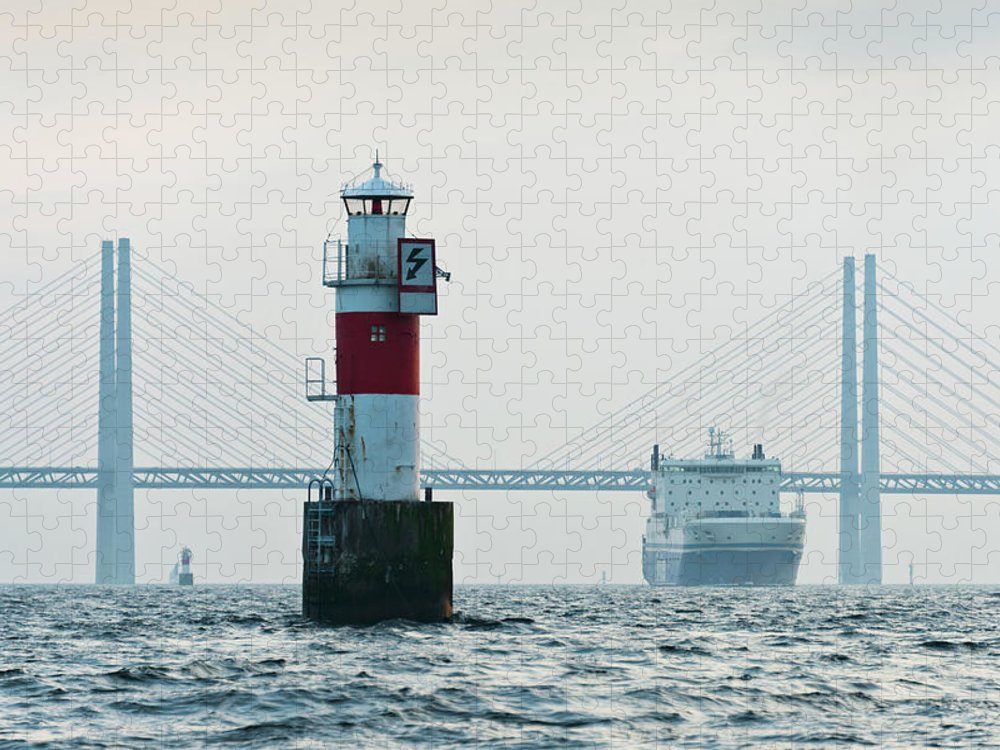 Copenhagen Puzzle featuring the photograph Ferry On Sea, Oresund Bridge In by Johner Images