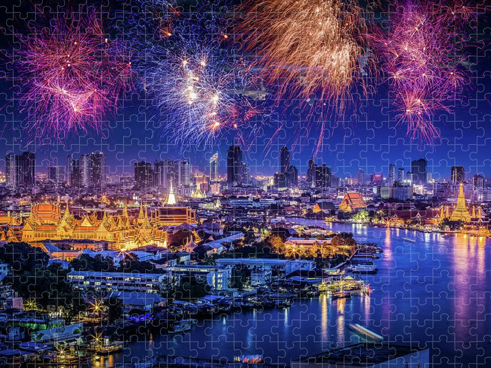 Mother's Day Puzzle featuring the photograph Fireworks Above Bangkok City by Natapong Supalertsophon