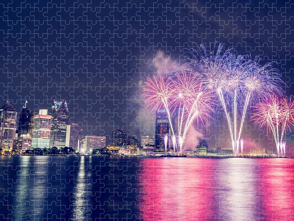 Windsor Puzzle featuring the photograph Fireworks And Illuminated City by Christian Khuong / Eyeem