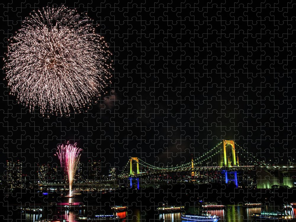 Firework Display Puzzle featuring the photograph Fireworks At Rainbow Bridge by ©alan Nee
