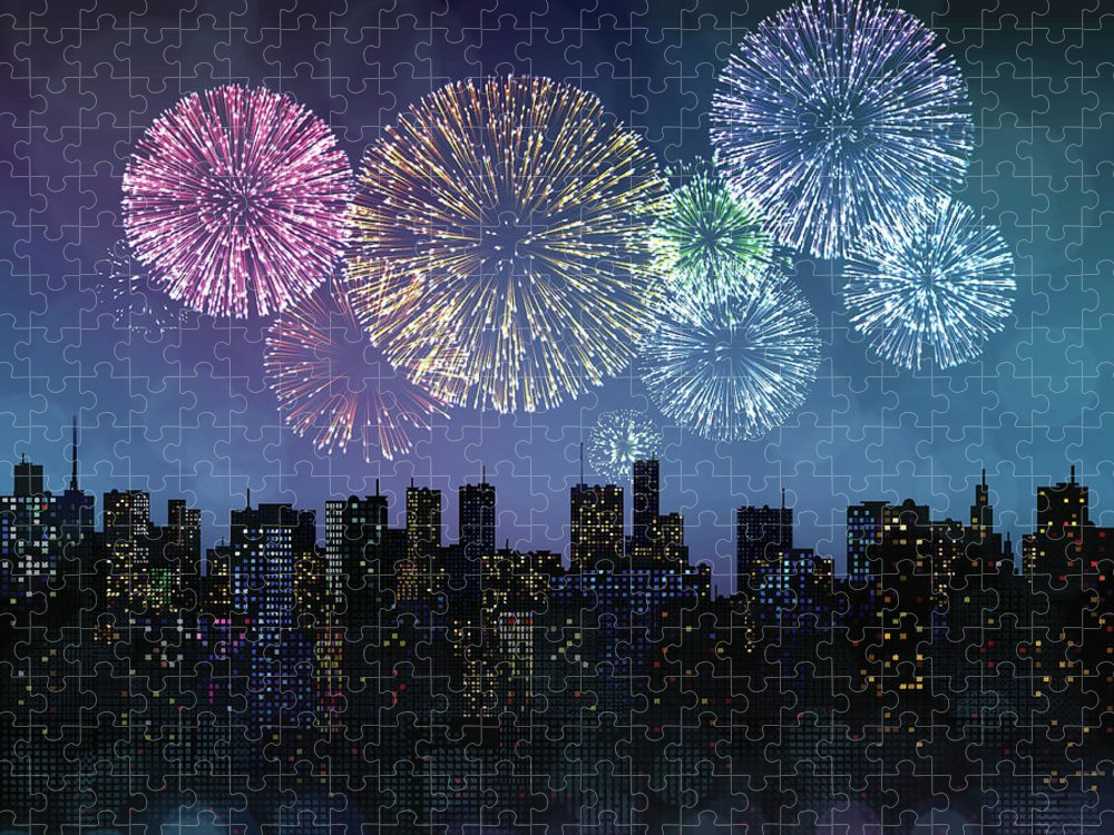 Event Puzzle featuring the digital art Fireworks Over The City by Magnilion