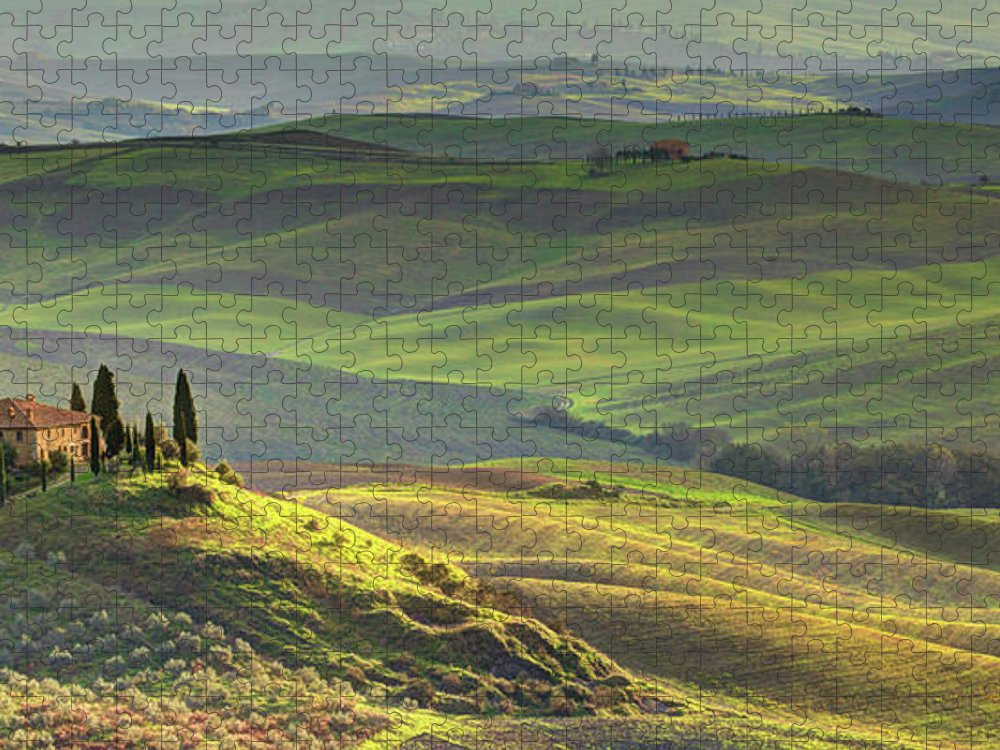 Scenics Puzzle featuring the photograph First Light In Tuscany by Maurice Ford