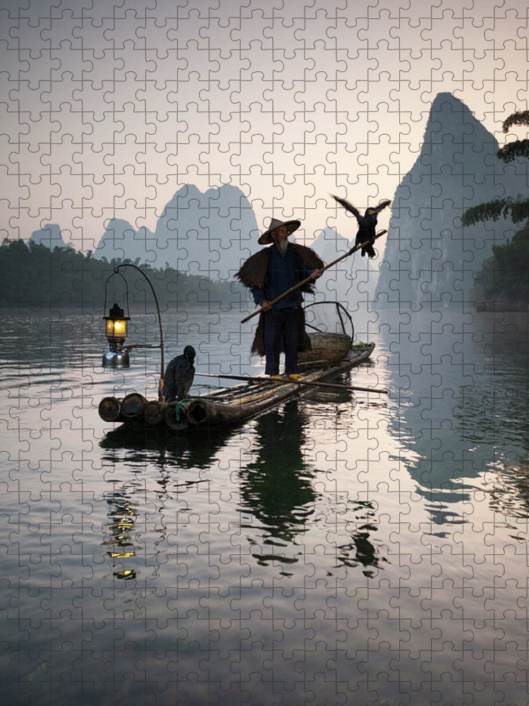 Chinese Culture Puzzle featuring the photograph Fisherman With Cormorants On Li River by Matteo Colombo