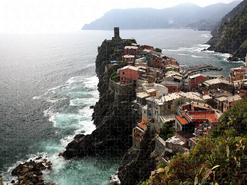 Seascape Puzzle featuring the photograph Fishing Village Of Vernazza, Looking by Bruce Yuanyue Bi