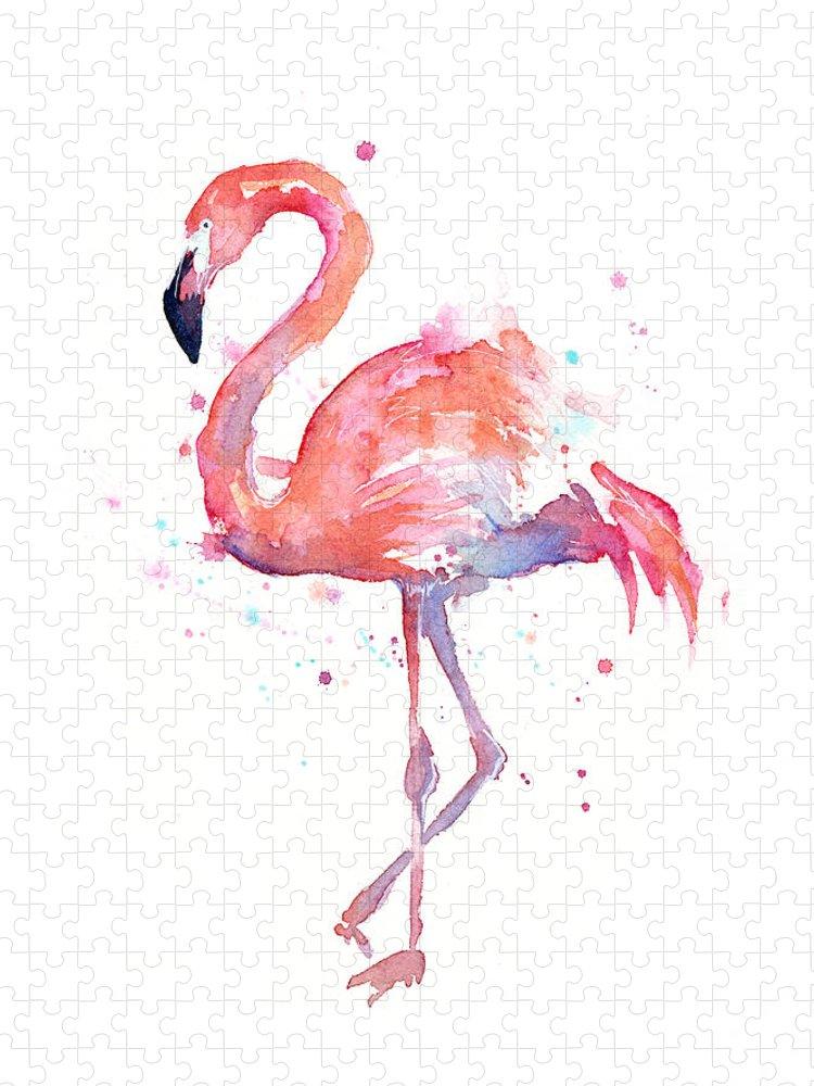 Bird Puzzle featuring the painting Flamingo Watercolor by Olga Shvartsur
