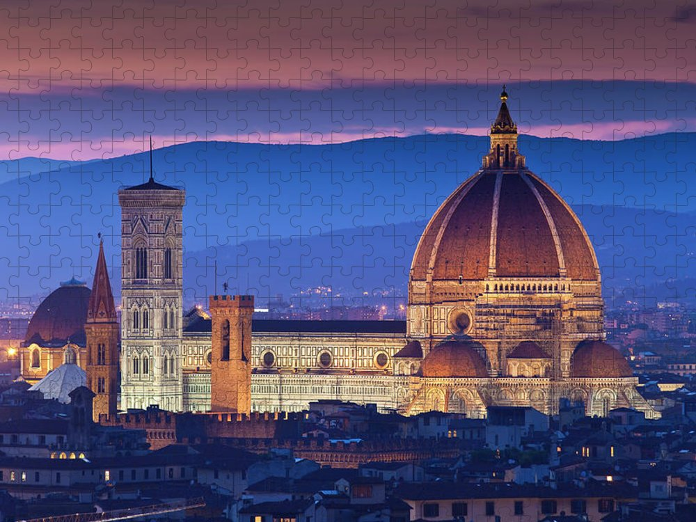 Built Structure Puzzle featuring the photograph Florence Catherdral Duomo And City From by Richard I'anson