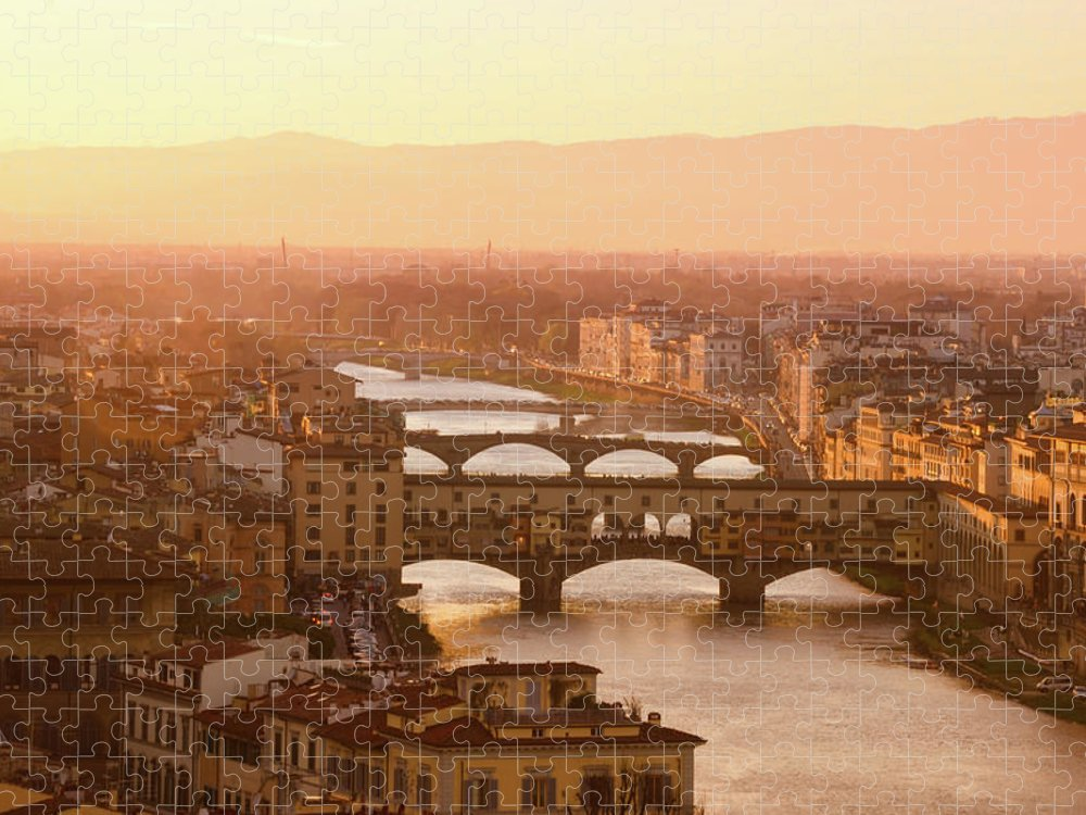 Campanile Puzzle featuring the photograph Florence City During Golden Sunset by Dragos Cosmin Photos