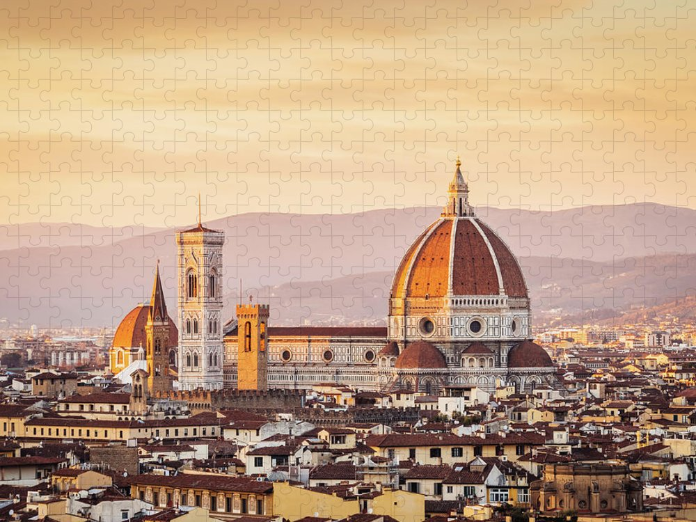 Campanile Puzzle featuring the photograph Florences Cathedral And Skyline At by Filippobacci