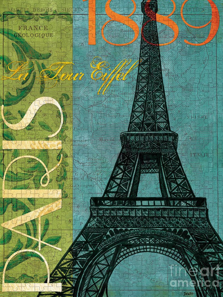 France Puzzle featuring the painting Francaise 1 by Debbie DeWitt