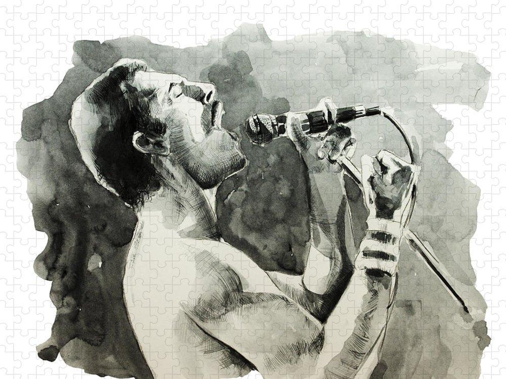 Freddie Mercury Puzzle featuring the painting Freddie Mercury 8 by Bekim M