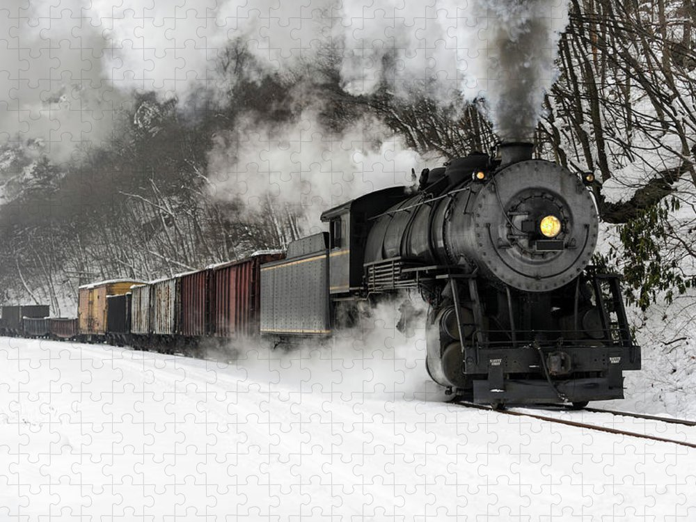 Scenics Puzzle featuring the photograph Freight Train With Steam Locomotive by Catnap72