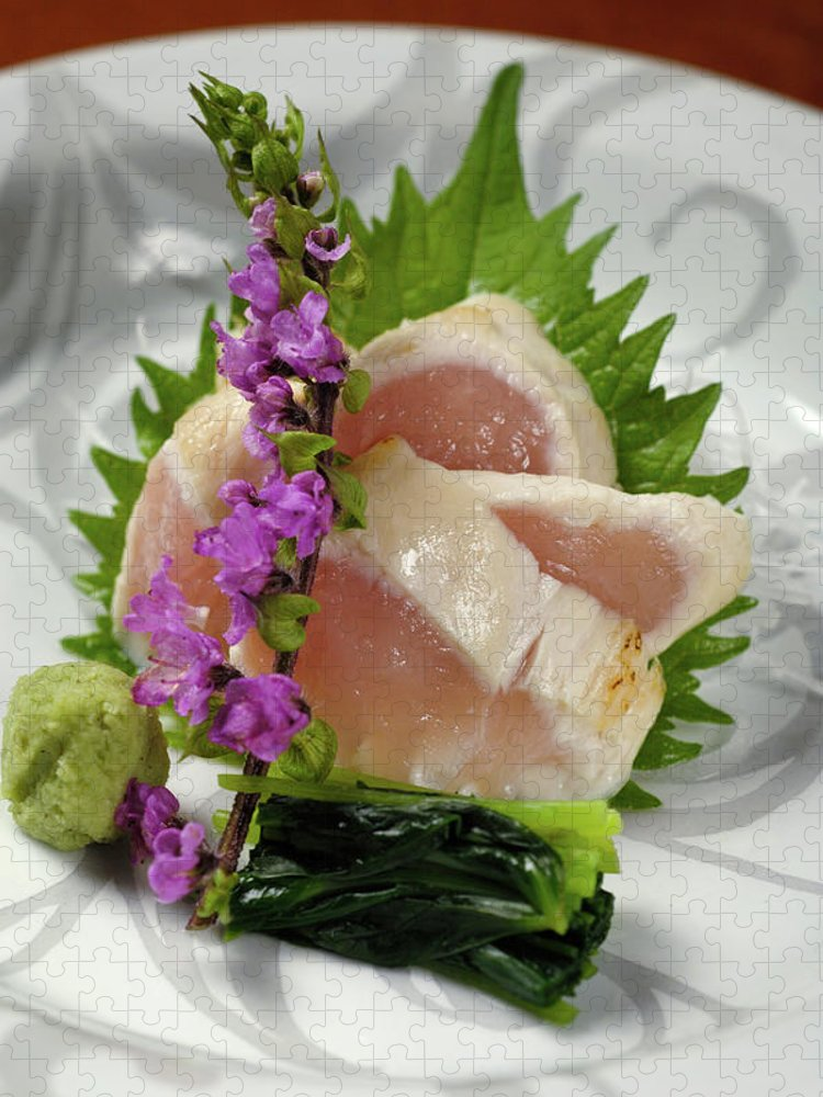 Japanese Food Puzzle featuring the photograph Fresh Slices Of The Bird Of by Ryouchin