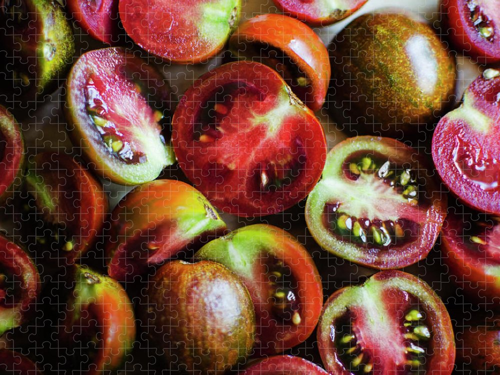 Tranquility Puzzle featuring the photograph Freshly Cut Tomatoes by Jamie Grill