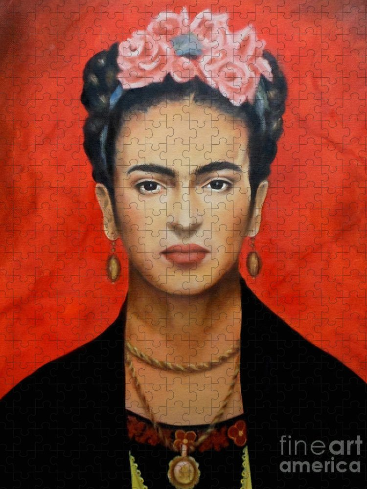 Frida Puzzle featuring the painting Frida Kahlo by Yelena Day