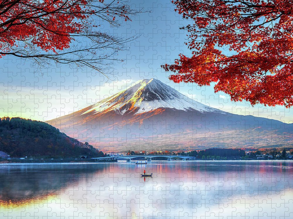 Snow Puzzle featuring the photograph Fuji Mountain In Autumn by Doctoregg