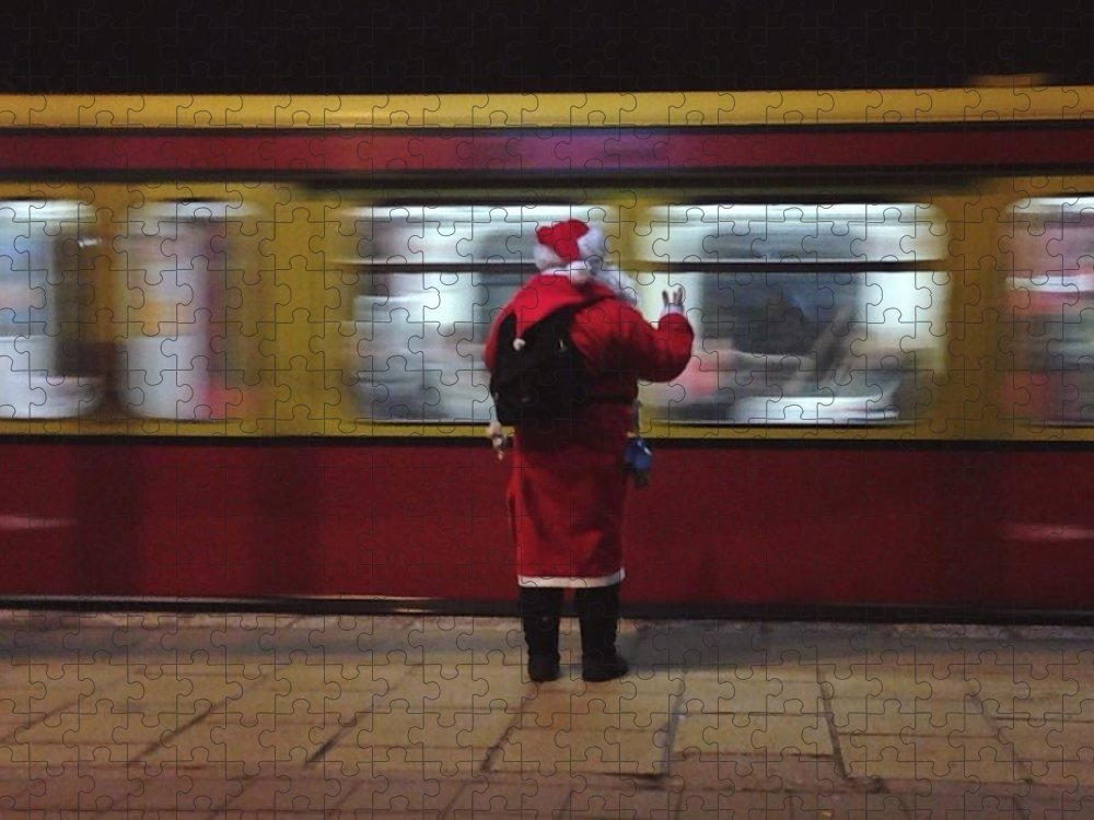 Passenger Train Puzzle featuring the photograph Full Length Rear View Of Man In Santa by Monika Kanokova / Eyeem