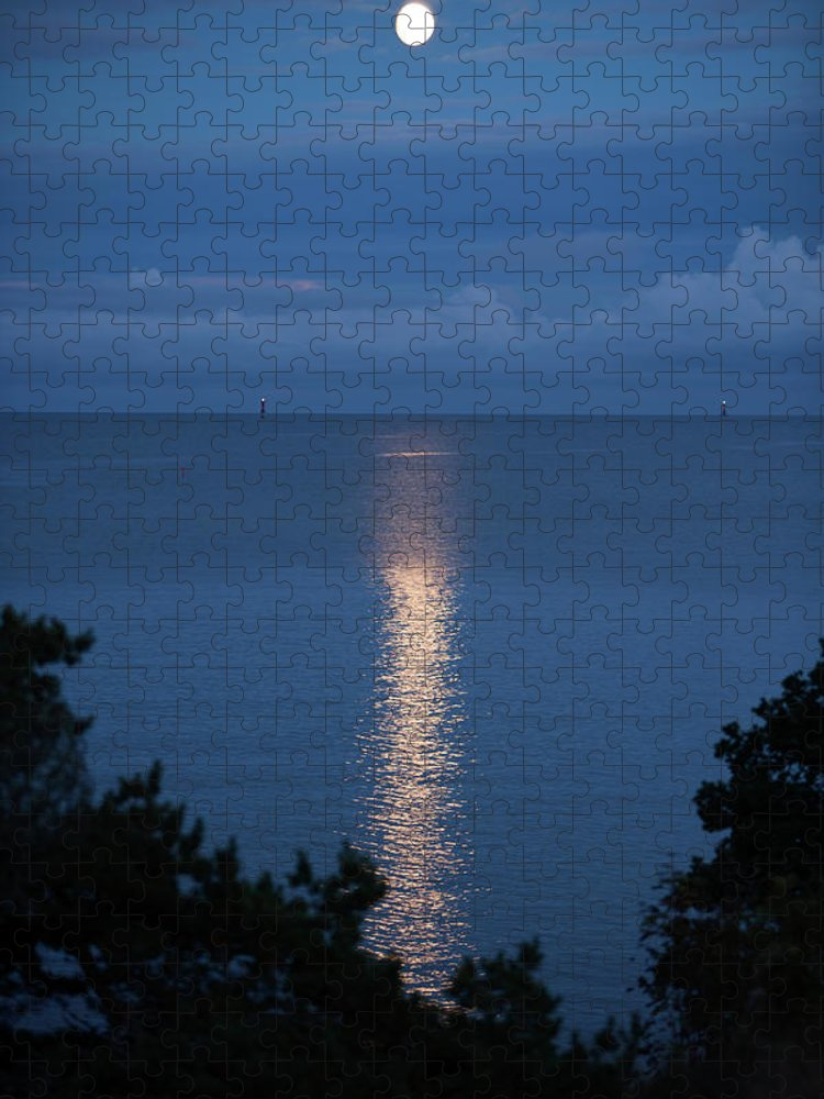 Archipelago Puzzle featuring the photograph Full Moon Over Sea by Johner Images