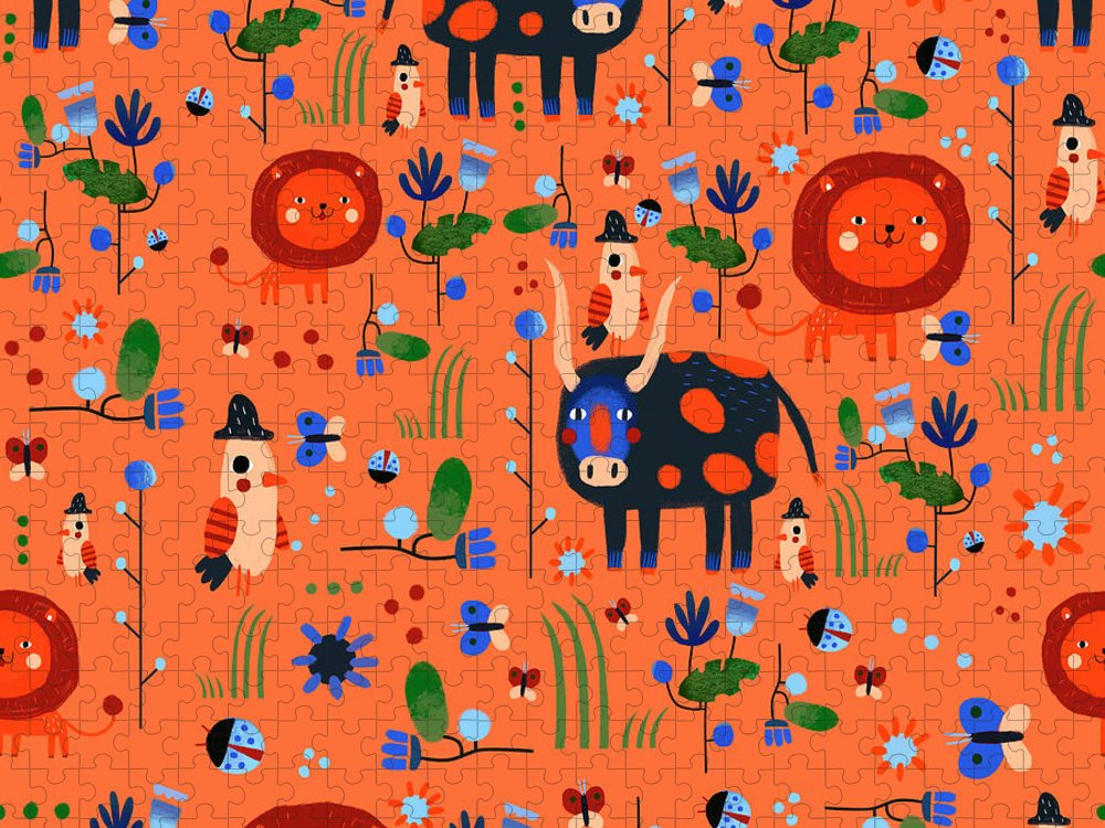 Gouache Puzzle featuring the digital art Funny Pattern With Animals by Ekaterina Ladatko