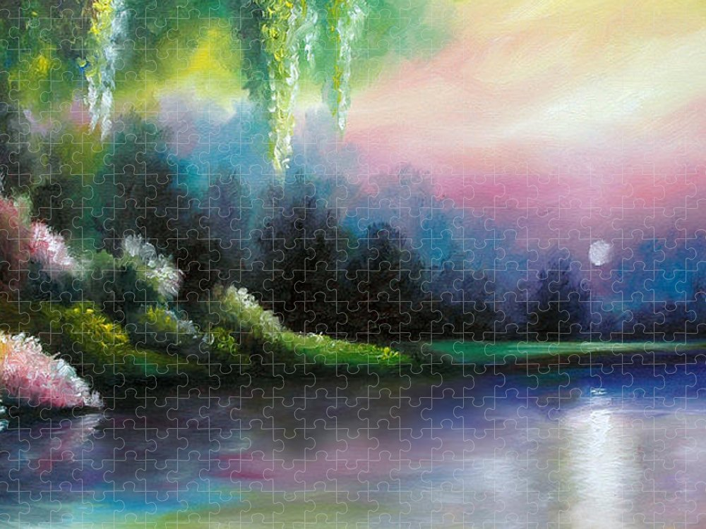Sunrise Puzzle featuring the painting Garden of Eden I by James Christopher Hill