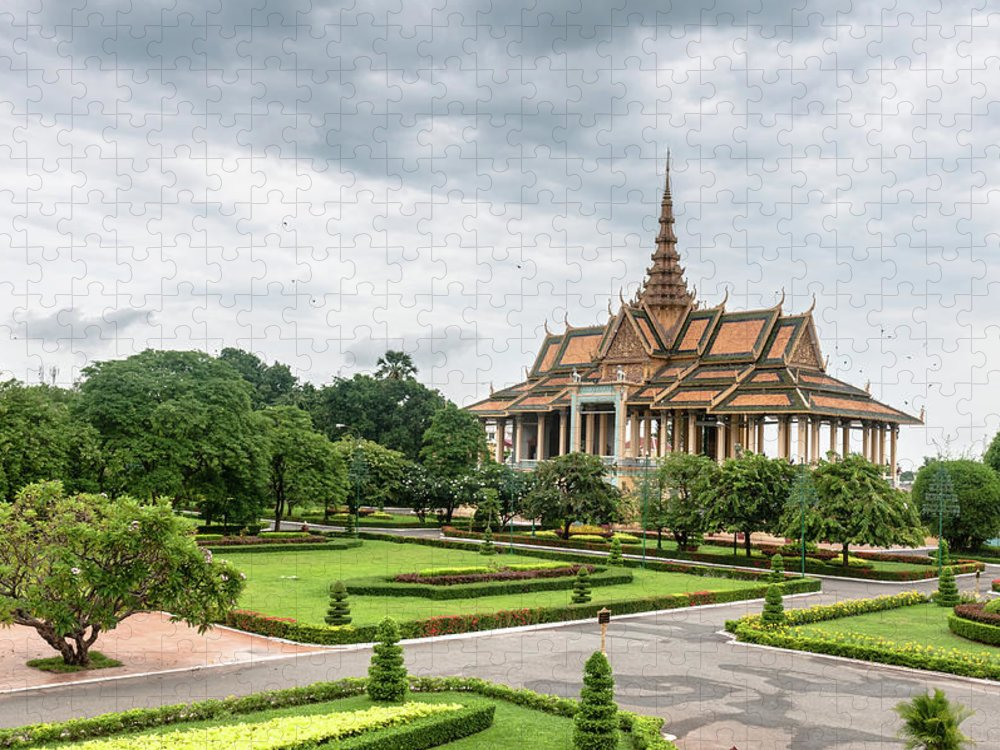 Southeast Asia Puzzle featuring the photograph Gardens At The Royal Palace In Phnom by Tbradford